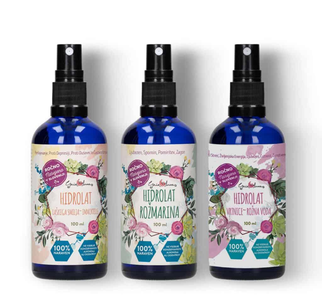 Hidrolat damaščanske vrtnice, hidrolat rožmarina, hidrolat smilja, kopmplet po znižani ceni.č GaiaLuna, domača kozmetika