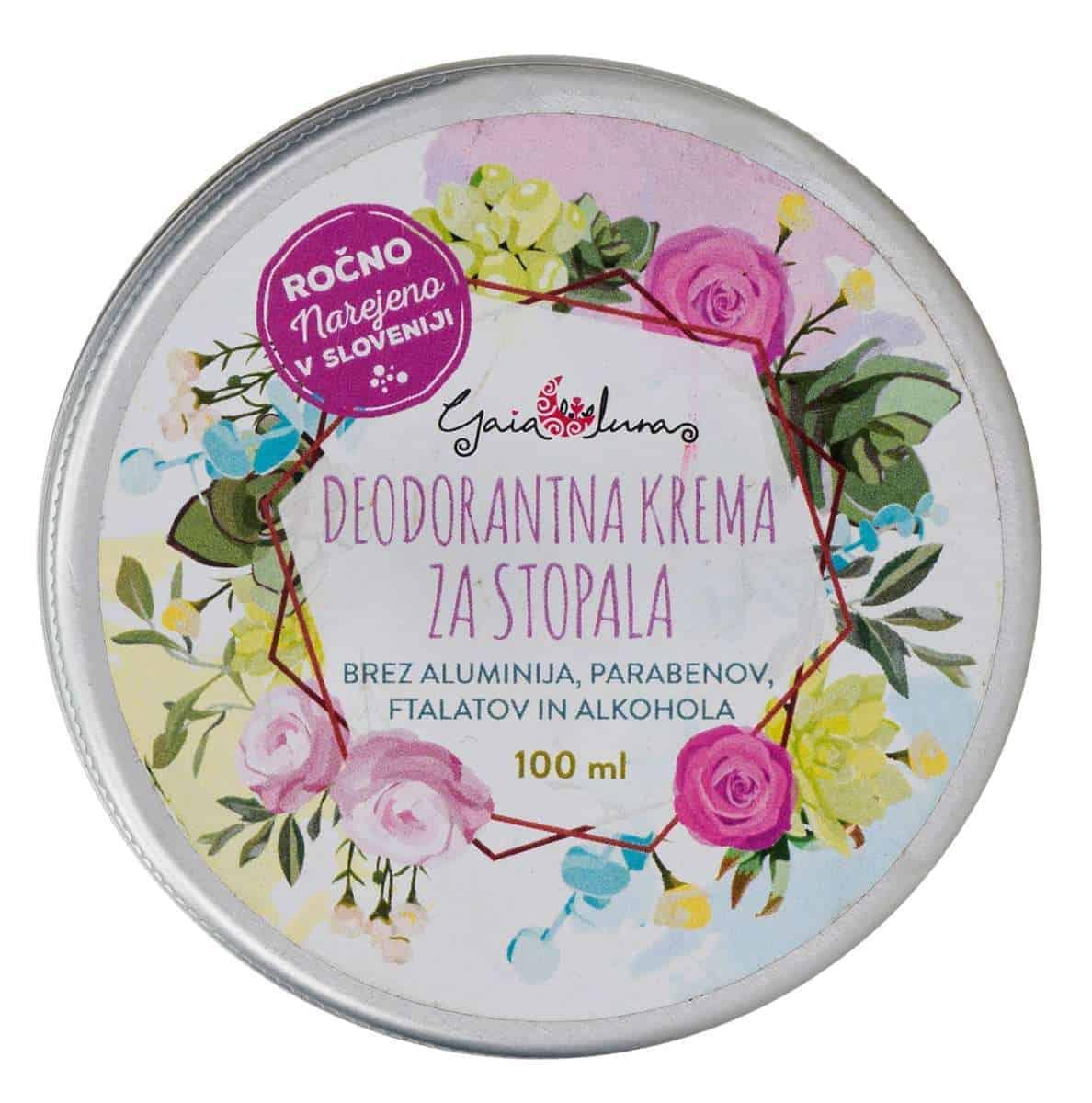 Deodorantna krema za stopala, GaiaLuna domača kozmetika