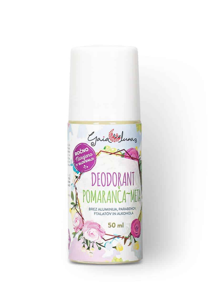 Deodorant brez aluminija, pomaranča, meta, GaiaLuna domača kozmetika
